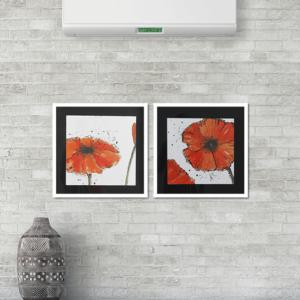 Par de Quadros Flores Papoula Vermelha, 48X48cm C/ Vidro 2mm e Moldura em Madeira na Cor branca