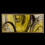 """Quadro ABSTRATO Risk Circle Yellow Super """"B"""" Luxo, 143x62cm c/ Vidro 3mm e Moldura em Madeira Especial"""