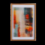 Quadro Decorativo NY Empire State para Sala Quarto Hall Escritório, 63x42cm C/ Vidro 3mm, Moldura em Madeira na Cor Mel