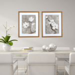 Par de quadros decorativos Flores Branca, 53x43cm C/ Vidro 2mm e Moldura em Madeira na Cor Mel