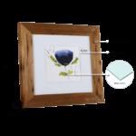 Kit de 2 Quadros Decorativos Flores abstratas, 52x52cm C/ Vidro 3mm e Moldura em Madeira de Demolição