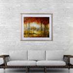 Quadro Árvores Abstrata para Sala Quarto Hall Escritório, 63x53cm C/ Vidro Adesivado 2mm e Moldura em Madeira Cor palha