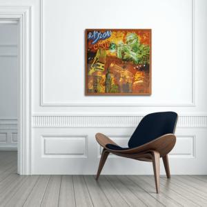 Quadro Decorativo Hot Jazz, 52x52cm com Vidro 2mm e Moldura em Madeira na Cor Mel