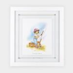 """Quadro Infantil Serie Crianças """"Menina Desenhando"""" 45x40cm, Modelo Sanduíche de Vidro 2mm, Moldura em Madeira na cor Branca"""