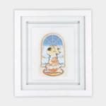 """Quadro Infantil Série Crianças """"Menina Rezando"""" 45x40cm, Modelo Sanduíche de Vidro 2mm, Moldura em Madeira na cor Branca"""