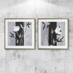 Kit de 2 Quadros Decorativos Flores Abstratas Black and White para Sala Quarto Hall Escritório, 48x48cm C/ Vidro 3mm e Moldura em Madeira na Cor Dourado Envelhecido