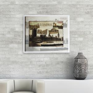 Quadro Decorativo Londres Sépia Para Sala Quarto Escritório 53x43cm C/ Vidro de 3mm e Moldura em Madeira na Cor Branca