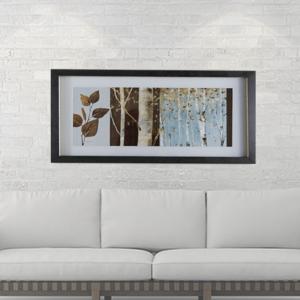 Quadro Decorativo Horizontal Arvores para Sala Quarto Hall Escritório, 74x42cm C/ Vidro 2mm e Moldura na Cor Preto