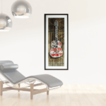 Quadro Musical Violão para Sala Quarto Hall Escritório, 103x43cm C/ Vidro 3mm e moldura na cor Tabaco