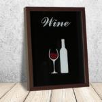 Quadro Porta Rolhas Taça de vinho p/ Cozinhas Bares Área de Churrasco, 42x32cm C/ vidro 2mm e Moldura em Madeira na Cor Tabaco