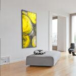 """Quadro ABSTRATO Risk Circle Yellow Super """"A"""" Luxo, 143x62cm c/ Vidro 3mm e Moldura em Madeira Especial"""
