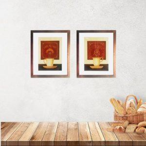"""Kit de 2 Quadros """"Cafe Aulait & Capuccino"""" para Lanchonetes Padarias Restaurantes 20x25cm C/ Vidro 3mm e Moldura Especial em Madeira na Cor Cobre"""