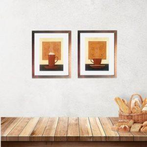 """Kit de 2 Quadros """"Cafe Expresso & Café Chocolate"""" para Lanchonetes Padarias Restaurantes 20x25cm C/ Vidro 3mm e Moldura Especial em Madeira na Cor Cobre"""