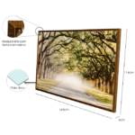Quadro Decorativo Rua entre o Bosque para Sala Quarto Hotéis Escritório 163x114m C/ Vidro 3mm e Moldura Texturada na Cor Tabaco