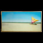 Quadro Paisagem de Praia e Barco Super Luxo para Sala Quarto Hotéis Escritório, 147x83cm C/ Vidro 3mm e Moldura Especial