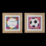 """Par de Quadro Infanto Juvenil """"Soccer & Baseball"""" para Quarto 48x48cm c/ Vidro 2mm e Moldura em Madeira na Cor Palha"""