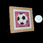 """Kit de 2 Quadros Infanto Juvenil """"Soccer & Baseball"""" para Quarto 48x48cm c/ Vidro 3mm e Moldura em Madeira na Cor Palha"""