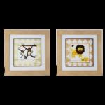"""Par de Quadro Infanto Juvenil """"Monkey & Lion"""" para Quarto 48x48cm c/ Vidro 2mm e Moldura em Madeira na Cor Palha"""