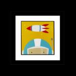 """Quadro Decorativo Infanto Juvenil """"Astronauta"""" para Quarto 46x46cm c/ Vidro 2mm e Moldura em Madeira na Cor Preto"""