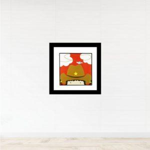 """Quadro Decorativo Infanto Juvenil """"CowGirl"""" para Quarto 46x46cm c/ Vidro 2mm e Moldura em Madeira na Cor Preto"""