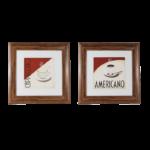 Kit de 2 Quadros Capuccino e Café para Padarias Lanchonetes Restaurantes 57x57cm C/ Vidro 3mm e Moldura em Madeira na Cor Tabaco