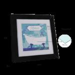 """Kit de 2 Quadros """"Relax & Induje"""" para Lavabo e Banheiro 50x50cm C/ Vidro 3mm e Moldura em Madeira na Cor Preto"""
