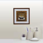 """Quadro Decorativo Paint Bathtube """"A"""" para Lavabo e Banheiro 42x42cm C/ Vidro 2mm e Moldura em Madeira na Cor Tabaco"""