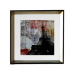 """Quadro Decorativo Super Luxo """"Paris"""" para Sala Quarto Escritório 44x44cm C/ Vidro 2mm e Moldura em Madeira com chanfro Dourado"""