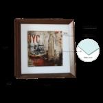 Quadro Decorativo NY para Sala Quarto Escritório 45x45cm C/ Vidro 2mm e Moldura com chanfro em Madeira na cor Tabaco