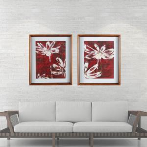 Par de Quadros Flores Abstratas 56x66cm C/ Vidro 2mm e Moldura em Madeira na Cor Tabaco
