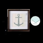 Kit de 3 Quadros Naval para Quarto Infantil ou Bebê 44x55cm c/ Vidro 3mm e Moldura em Madeira na Cor Tabaco