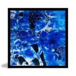 Quadro Abstrato Blue Wave para Sala Quarto Hotéis Escritório, 60x60cm C/ Vidro 3mm e Moldura na cor Preto