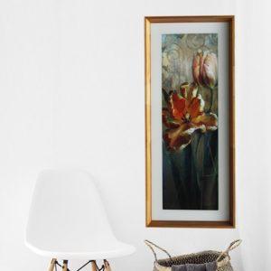 Quadro Decorativo Flor Abstrata para Sala Quarto Hotéis Escritório, 44x104cm C/ Vidro 3mm e Moldura Chanfrada em Madeira Natural Envernizado