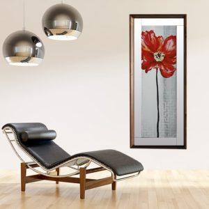 Quadro Papoula Vermelha Abstrata para Sala Quarto Hotéis Escritório, 44x105cm C/ Vidro 3mm e Moldura Chanfrada e Passe-partout Espelhado