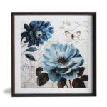 """Quadro Floral A Blue Note Art by Lisa Audit """"A"""" para Sala Quarto Hotéis Escritório, 50x50cm C/ Vidro 2mm e Moldura Chanfrada na cor Tabaco"""