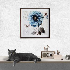 """Quadro Floral A Blue Note Art by Lisa Audit """"B"""" para Sala Quarto Hotéis Escritório, 50x50cm C/ Vidro 2mm e Moldura Chanfrada na cor Tabaco"""