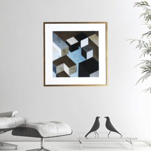 """Quadro Geométrico Super Luxo Cubos """"A"""" para Sala Quarto Hotéis Escritório, 50x50cm C/ Vidro 2mm e Moldura Especial na Cor Dourado Envelhecido"""