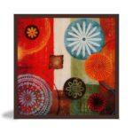 """Quadro Abstrato Mandalas """"A"""" para Sala Quarto Hotéis Escritório, 60x60cm C/ Vidro 3mm e Moldura Chanfrada na Cor Tabaco"""
