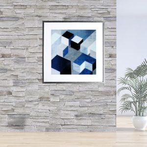 """Quadro Geométrico Super Luxo Cubos """"A"""" para Sala Quarto Hotéis Escritório, 50x50cm C/ Vidro 2mm e Moldura Especial na Cor Prata Metalizada"""
