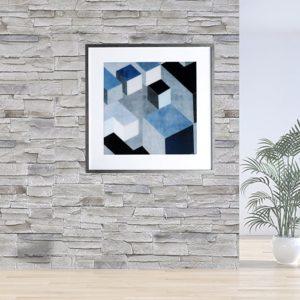 """Quadro Geométrico Super Luxo Cubos """"B"""" para Sala Quarto Hotéis Escritório, 50x50cm C/ Vidro 2mm e Moldura Especial na Cor Prata Metalizada"""