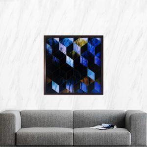 Quadro Abstrato Cubos 3d para Sala Quarto Hotéis Escritório, 60x60cm C/ Vidro 3mm e Moldura na cor Tabaco