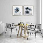 """Par de Quadros Floral Papoula Azul """"A & B"""" para Sala Quarto Hotéis Escritório, 50x50cm C/ Vidro 2mm e Moldura Reta na cor Verde Argila"""