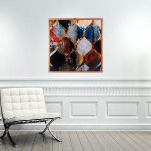 Quadro Abstrato Super Luxo para Sala Quarto Hotéis Escritório, 60x60cm C/ Vidro 3mm e Moldura Especial na cor Cobre