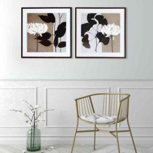 """Par de Quadros Floral by Ivo Stoyanov """"A & B"""" para Sala Quarto Hotéis Escritório, 50x50cm C/ Vidro 2mm e Moldura Reta na cor Tabaco"""
