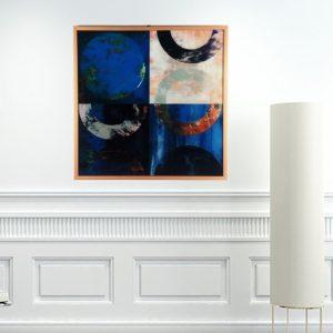 Quadro Abstrato Super Luxo Circles in the Square para Sala Quarto Hotéis Escritório, 60x60cm C/ Vidro 3mm e Moldura Especial na cor Cobre