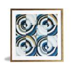 """Quadro Geométrico Super Luxo """"Circular"""" para Sala Quarto Hotéis Escritório, 50x50cm C/ Vidro 2mm e Moldura Especial na Cor Dourado Envelhecido"""