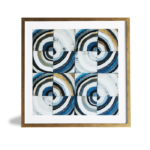 """Quadro Geométrico Super Luxo """"Quadrado & Circular"""" para Sala Quarto Hotéis Escritório, 50x50cm C/ Vidro 2mm e Moldura Especial na Cor Dourado Envelhecido"""