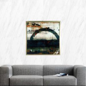 """Quadro Abstrato Super Luxo Círculo """"B"""" para Sala Quarto Hotéis Escritório, 60x60cm C/ Vidro 3mm e Moldura Especial na cor Dourado"""