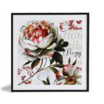 """Par de Quadros Floral Rose """"A & B"""" para Sala Quarto Hotéis Escritório, 50x50cm C/ Vidro 2mm e Moldura Reta na cor Preta"""