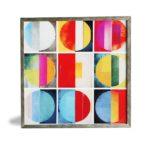 """Quadro Geométrico Super Luxo Hot Colors """"A e B"""" para Sala Quarto Hotéis Escritório, 50x50cm C/ Vidro 2mm e Moldura Especial na Cor Prata Envelhecida"""